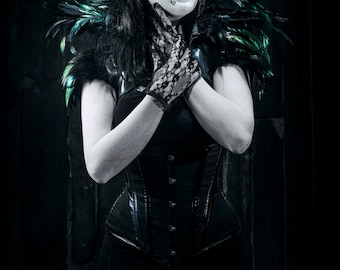 Green Leather Lace Masquerade Mask - Asymmetrical Costume - POISON IVY