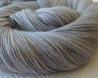 hand dyed lace weight yarn cashmere blend yarn silver gray grey Pieces of Eight cobweb lace 1312 yards baby alpaca silk cashmere
