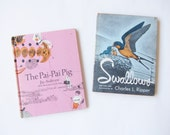 Swallows and The Pai Pai Pig . vintage childrens book set of two .sale s a l e