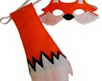 Children's Woodland Animal FOX Felt Mask and Tail Set