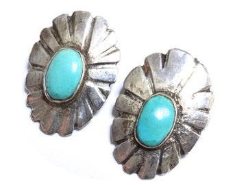 Old Navajo Silver & Turquoise Concho Earrings
