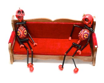 Red & Black Skeleton Necklace