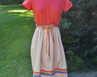Vintage 1970s Salmon & Tan Dress with String Belt