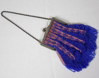 1920's Blue Beaded Purse w/ Draped Beads and Metal Frame