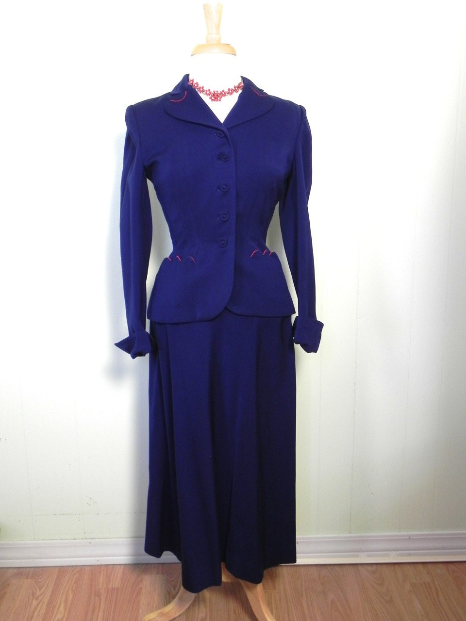 vintage 40s suit royal blue and gab womens skirt by