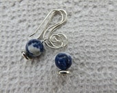 Lapis Earrings, Scrolled silver and Gemstone, Beaded Silver Earrings, Gift for Her