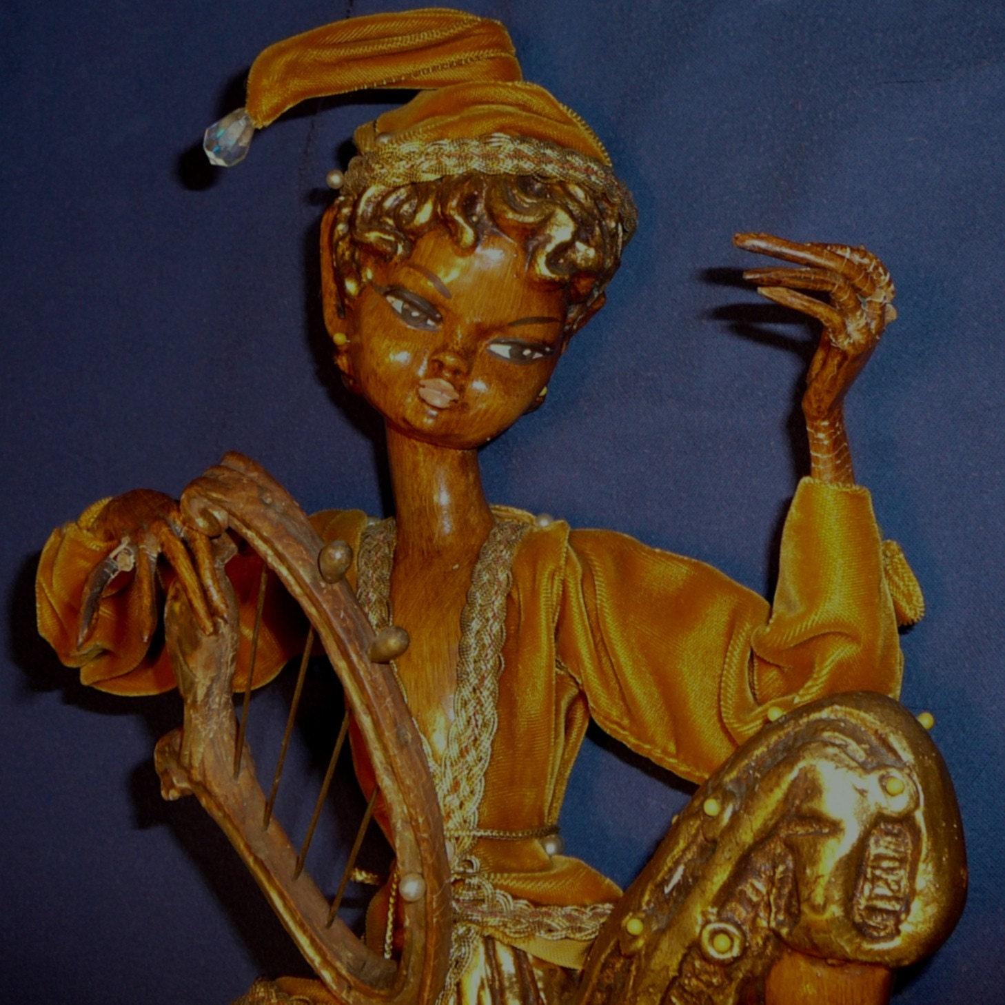 Mid Century Pixie Elf Musician Huge Figure Gold Composition