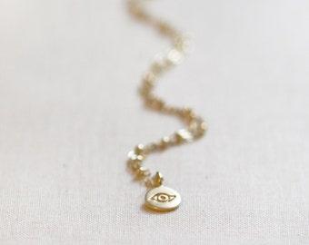 Evil Eye Necklace | Delicate Satellite Chain | 14kt Gold Filled