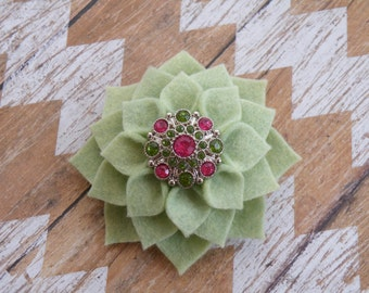 "4"" Light Sage Green Dahlia Hair Clip, Green Flower Broach, Felt flower pin, Green Flower Hairbow, Sage Green Hairbow , Green Flower Pin"