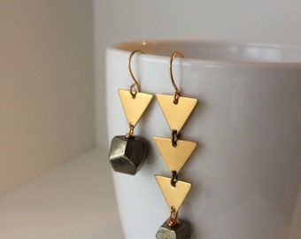 Asymmetrical Earrings | Geometric | Brass Triangle and Pyrite Earrings | E80007