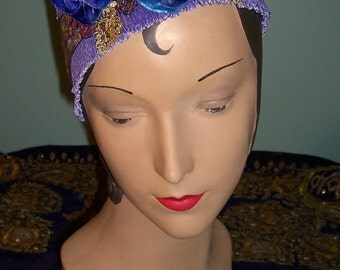 Lavender Blue Ribbon Flower Fortuny Style Pleated Ribbon Headband Flapper Edwardian