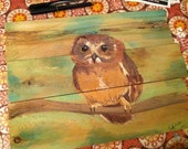 Original Owl Watercolor, Reserved for Mandy