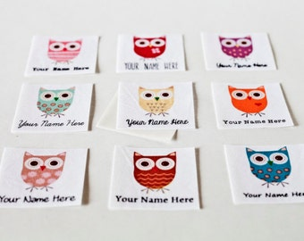 Owl Shop Labels - iron on fabric labels, personalized
