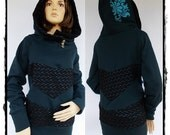 SALE!!! OOAK New Chlorice Lace and dark steal/teal Hoodie size XL/1X