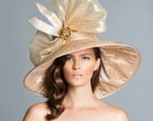Gold-Champange derby hat , Lampshade Hat, Kentucky derby hat , Couture Hat