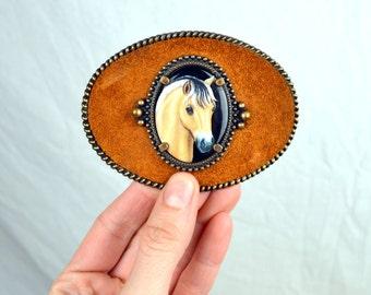 Vintage 80s Western Style Artistic Impressions Horse Head Handpainted Belt Buckle - artist Juile Zsupnik