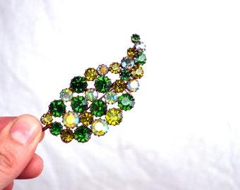 SALE! Vintage Green Leaf Rhinestone Fern Brooch Pin
