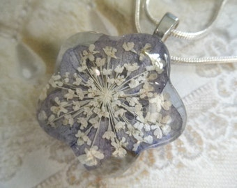 Soft, Blue Hydrangea, Queen Anne's Lace Glass Flower Shaped Pressed Flower Pendant-Symbolizes Peace & Understanding-Gifts Under 25