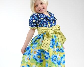 Girls Dress, Toddler Dress, Baby Girl Dress, Cute Girls Dresses, Birthday dress, Party dress, blue, yellow, Sizes 2T - 10, Blue, Yellow