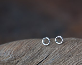 4.5mm Teeny Tiny Stud Earrings, Very tiny hoop earring, Sterling silver stud earrings, contemporary geometric studs for man, woman