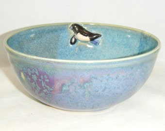 Penguin Bowl Blue Purple ClayDogStudio Etsy