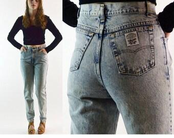 Vintage 80s Levi Jeans / Womens Levi Slim Fit Taper Leg Jeans / Faded ACID WASH Levi Tapered Jeans / Levi High Waist Jeans 29 Waist