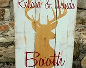 Barn Wood Sign, Personalized wood sign made with last name, a DEER,  and wedding date