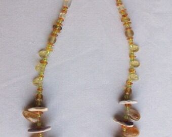 Indian made wampum bear claw necklace with honey agate spikes