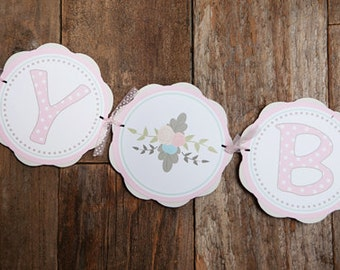 Pink Floral HAPPY BIRTHDAY Banner - Pink Flower Birthday - Floral Birthday - Pink Flowers Birthday - Rustic Girl Birthday Party
