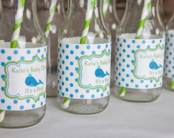 Captivating Whale Water Bottle Labels   Whale Baby Shower Decorations   Whale Labels    Whale Party In