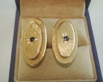 Vintage  Signed 14K Gold Cufflinks Sapphire