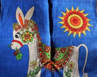 Tea Towel Unused 1978 Calendar Donkey Wall Hanging VINTAGE by Plantdreaming