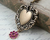 Lace Heart Necklace, Brass Heart Pendant, Art Deco, Pink Rhinestone Flower, Bridesmaid Necklace, Valentine Gift