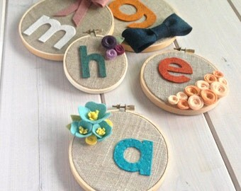 Personalized Custom Girls Blooms // Embroidery Hoop // Wall Decoration