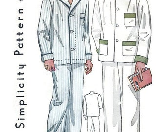 Vintage 1930s Pattern Men's Button Front Pajamas...Three Pocket Shirt 1935 Simplicity 1617 Size 40 UNCUT