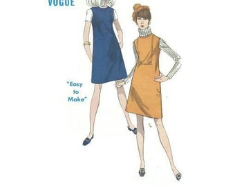 Vintage 1960s Pattern A Line Mod Jumper Dress Shaped Seams Frong and Back Inset 1967 Vogue 7174 Bust 34 Uncut