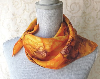 Hand Dyed Square Silk Scarf Bandana in Golden Yellow and Brown
