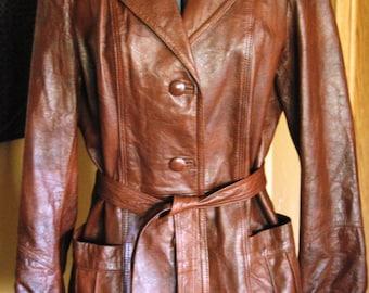 Vintage Leather Jacket 1970's Brown Tie Waist Leather Jacket