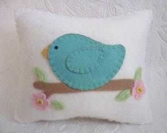 Felt Bird Pillow Penny Rug Applique Bird Baby's Room Decor Pincushion