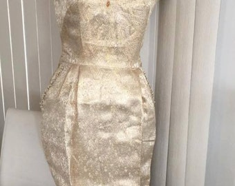 Sale Fabulous 1950's Vintage Gold Brocade Party Dress -- Wiggle Style with Rhinestones and Pearls