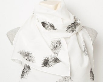 Mother Day Present Hand Printed Silk Cotton Scarf with Sweet Hedgehog Animal Lover Style Design Black White