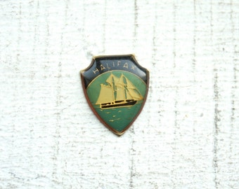 3 Vintage 1960s Halifax Crests // Enamelled Brass Canada Ship Souvenir Charms // NOS Jewelry Supply