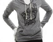 Hotei. Happy Lucky Buddha flashing a Peace Sign art by MATLEY. Ladies lightweight soft organic cotton blend. Marathon Pullover Hoodie