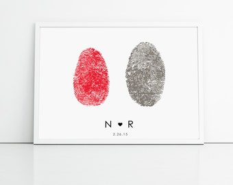 Red and Grey Fingerprint Wedding Guest Book