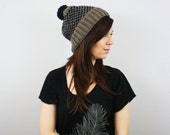 Knit Fair Isle Beanie with Pom, Chunky Knit Slouchy Beanie, Warm Winter Hat, Knit Cap // The Linden // Taupe and Navy // Ready to Ship