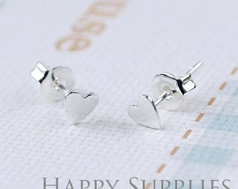 10Pcs (5 pairs) Nickel Free - High Quality 5mm Silver Brass Heart Earring Posts Findings with Ear Studs Back Stoppers (ZE156-S)