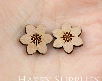 4pcs (SWC25) DIY Laser Cut Wooden Flower Charms