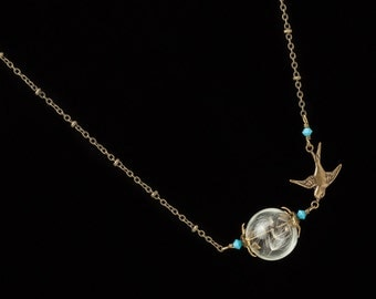 Dandelion Necklace, dandelion seed glass orb necklace, terrarium necklace, gold bird & turquoise crystal pendant necklace jewerly Gift 2588