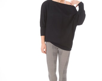 Knitted tunic top, Black tunic top for women- Also available in plus size and maternity sizes