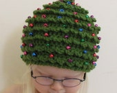 Christmas CROCHET PATTERN HAT Christmas Tree in 5 Sizes 0 to 5 plus years Beaded